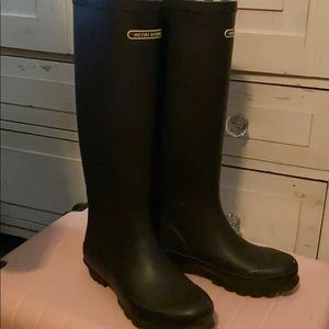 Henri Bendel Rain Boots Brown with white stripes 7